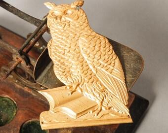 Antique brass plate, photo album cover decor, embellishment, The Owl
