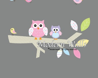 Children Vinyl Wall Decals Branch with Owls Birds-Nursery Wall Decals-e82