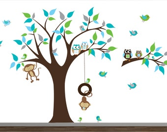 Children Vinyl Wall Decals Nursery Tree Wall Stickers with Monkeys