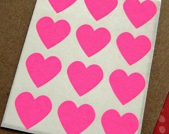 108 Heart Sticker Seals Neon Pink 3/4 inch