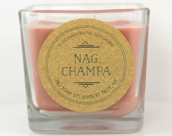 Soy Candle, Glass Cube Container, 12 OZ 100% Natural Soy