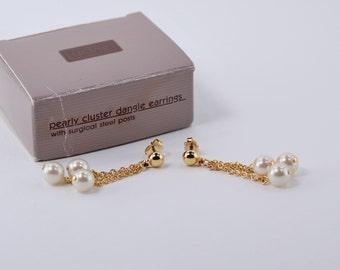 Vintage 1991 Avon Pearly Cluster Gold Tone Faux Pearl Made in Korea Multi Chain Dangle Pierced Earrings Original Box NIB