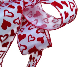 "Red Velvet Hearts Wire Ribbon... 2.5"" X 12 Feet"