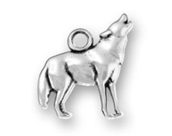 Sterling Silver Wolf Charm Pendant Howling Animal