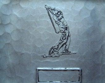 Golf lover-handmade-aluminum-golf- golfer-Demarsh Forge-Deland Florida-vintage- tray-key catcher-coin catcher