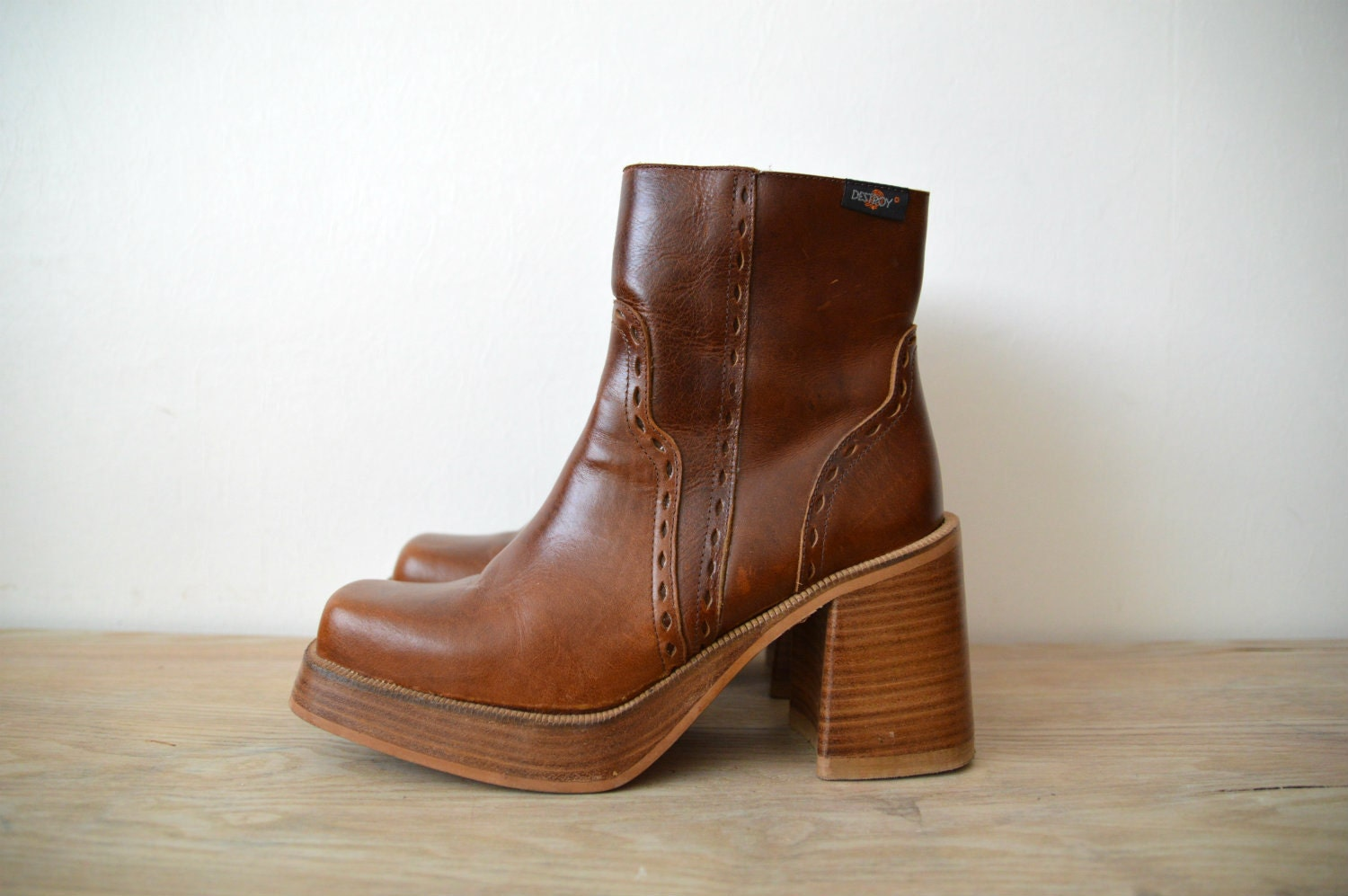 90s leather platform ankle destroy boots size by sonjasusanna