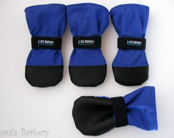 Indoor-Outdoor Dog Booties, The Barkery's TRACTION Mut-luks, Set of Four,  BLUE
