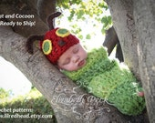 Caterpillar Hat and Cocoon Set --  Newborn Photography Prop --  Ready to Ship!