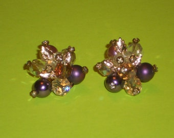 Vintage AB Crystal and Purple beaded Clip on Earrings Hollywood Regency