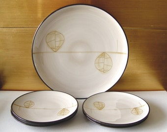 Vintage Stone Ware Showa JAPAN Hand Crafted PLATES ~ For Sushi Appetizers Desserts