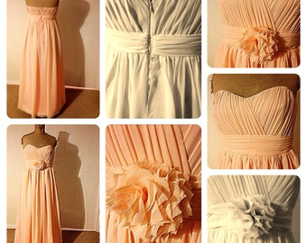 Peach/coral pastel colour chiffon and satin bridesmaid dress. All sizes and colours available