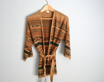 Vintage 70s Striped TRIBAL Soft SLOUCHY Orange Green Cardigan Sweater Jacket with Belt // one size
