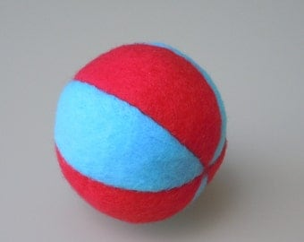 Aqua and Red Catnip Fleece Ball Cat Toy