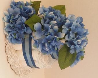 Blue Hydrangea Diaper Cake