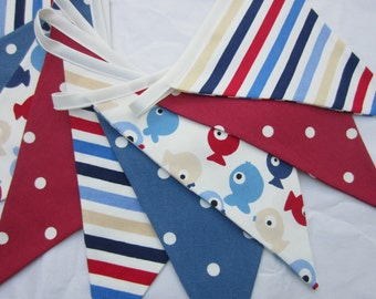 Nautical Bunting, Fabric Bunting, Seaside Pennant Banner, Flags Red White and Blue  Stripes, Fish, Dots Select number of Double sided Flags