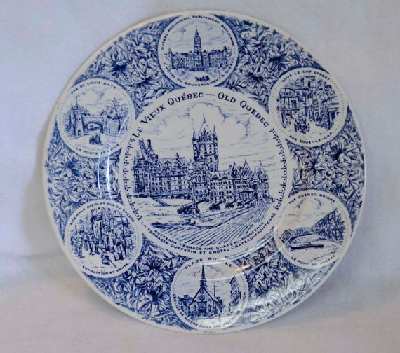 Vintage Wood & Sons English Ironstone Blue Transferware Souvenir Plate CANADA OLD QUEBEC 7 Scenes