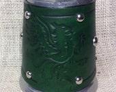 Leather Metal 16 oz tankard heraldic griffin mythical beer ale Scottish celtic Irish