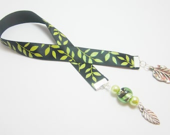 Sparkle Leaf Ribbon Bookmark Nature Tree Leaves Bookmark Black with Green Leaves 127B