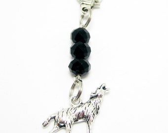 Wolf Zipper Purse Pull Black Crystal Rondelles Dire Wolf Lobster Claw Clasp Cell Phone Charm