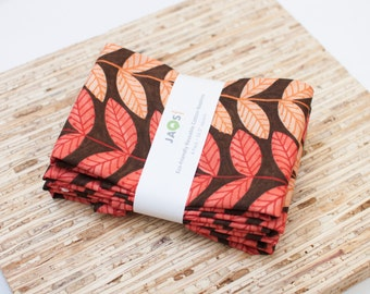 Large Cloth Napkins - Set of 4 - (N4567) - Brown Orange Leaves Modern Reusable Fabric Napkins