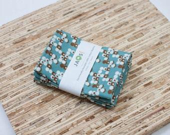 Small Cloth Napkins - Set of 4 - (N1531s) - Blue Modern Reusable Fabric Napkins