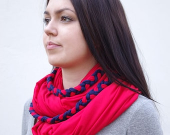 Huge infinity scarf, shrug, shawl, cowl and hood in one piece in red - READY to ship