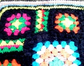 VINTAGE GRANNY SQUARE Twin Coverlet / Black and bright colors