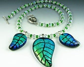 Hand Etched Green Three Leaf Necklace
