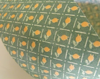 Green with Peach Rose Buds Fabric Ribbon 5 Yards