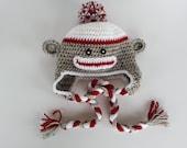 Crochet Sock Monkey Earflap Hat-Newborn Photo Prop-Infant Monkey Hat-Preemie Monkey-Kids Sock Monkey-Preemie to Adult