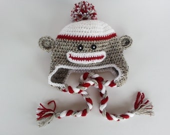 Crochet Sock Monkey Earflap Hat-Newborn Photo Prop-Infant Monkey Hat-Preemie Monkey-Kids Sock Monkey-Preemie to Adult