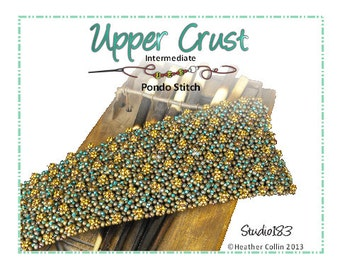 Beading Pattern, Instructions, Tutorial,  Pondo Stitch, African Circle Stitch, Extra Wide Cuff Instant Download UPPER CRUST