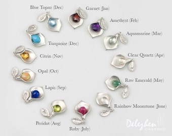 OOAK - Personalized Birthstone Jewelry- Custom Initial Jewelry - Birthstone Charm - Calla Lilly Charm
