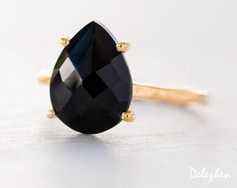 Black Onyx Ring Gold - Black Stone Ring - Solitaire Ring - Stacking Ring - Gold Ring - Tear Drop Ring - Prong Set Ring