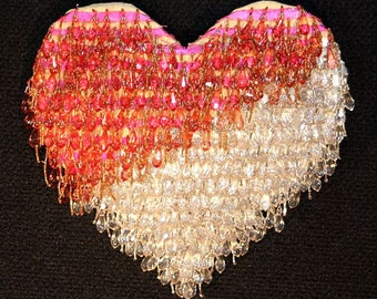 Amazing Pink, Gold, Silver, Crystal Beaded Heart Wall Art