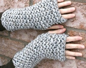Texting Knit Gloves Wrist Warmers Fingerless Gloves /Marble Grey/THE ELKS