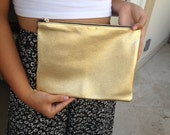 Gold w/copper leather in the back -  Pouch