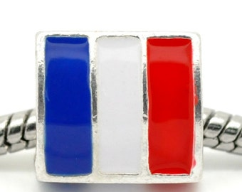 FRANCE FLAG French European Bead Charm World Championship Olympics Bracelet, Collect all the Flag Beads for your Bracelet. SAVE 3 For 5.00