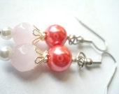 Pink Pearl Earrings, Fuchsia Earrings, Pink Czech Glass Earrings, Bridal Renaissance Earrings, Pink Beaded Earrings