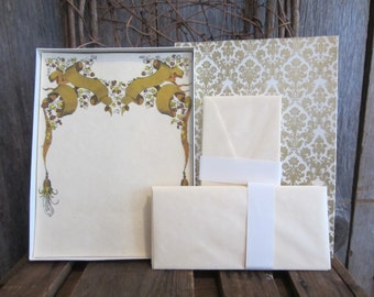 Vintage Parchment Stationery by Lilac Hedges Golden Ribbons / Tassles / Leaves Sheets of Paper / Envelopes Romantic