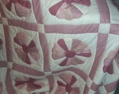 Mauves and Off White Dresden Plate Queen Sized Quilt