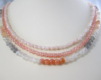 Shop Closing Coupon Sale, Multi Color Moonstone Necklace Interchangeable Multi Strand multi peach grey white necklace multi color moonstone