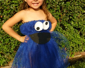 Halloween Kids Costume Cookie Monster Tutu Dress comes with a Crochet Hat and Tights Toddler Costume- Size 2-4T
