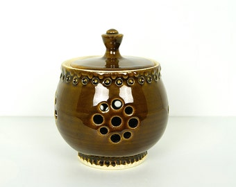 Handmade Pottery Garlic Keeper, Lidded Jar, Wheel Thrown Pottery, by RiverStone Pottery