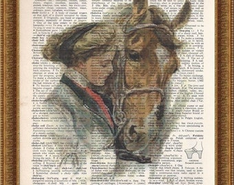 Harrison Fisher girl and her horse printed on a vintage recycled dictionary book page. Art Print, Wall Decor.