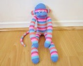 Candy striped sock monkey plush doll - blue, pink, and coral