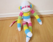 Pastel sock monkey plush doll - with wide stripes in pink, blue, green, yellow, and white