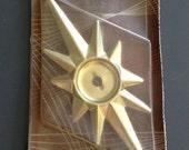 Vintage Mid Century Brass Starburst Back Plate Sears Craftsman NOS