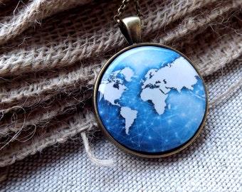 World Map Necklace Blue Necklace