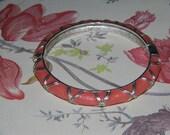 Vintage Silver Tone Peach Enamel Clamp Bracelet  Costume Jewelry Art Deco Mod Boho Ethnic  Kitsch Shabby Chic Blitznpizzez